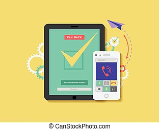 illustration of mobile phone and tablet with application for...