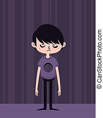 Sad Boy with Hole in Chest - Vector illustration of a...