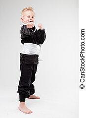 I'ma kung fu masta, babe - little kid with kung fu uniform...