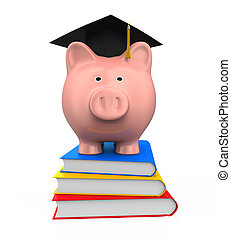 Piggy Bank, Graduation Cap & Books