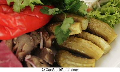 Marinated vegetables at banquet - Pickled vegetables on...