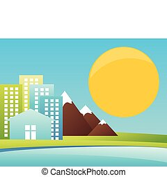 City in mountains on seacoast A vector illustration