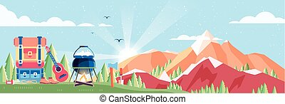 illustration of day landscape, mountains, dawn, travel, nature, pot, fire, hiking, big tourist backpack, camping in flat style