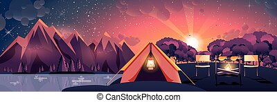 illustration of night landscape, mountains, sunset, travel, hiking, nature, tent, campfire, camping in flat style