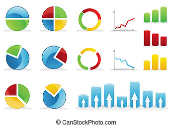 Icons of various schedules and diagrammes A vector...