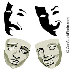 Face packs, pleasure and grief. A vector illustration