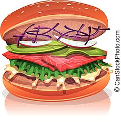 Vegetarian Burger With Salmon Fish - Illustration of a big...