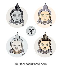 Hand drawn face of Buddha. Vector illustration, isolated on...
