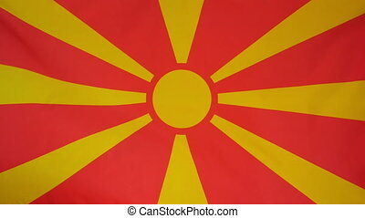 Mazedonia Flag real fabric 4K - Textile flag of Mazedonia...
