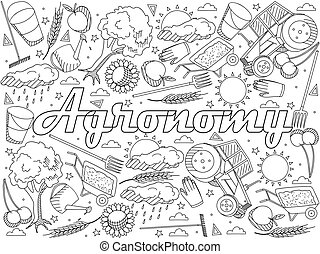 Agronomy coloring book vector illustration - Vector line art...