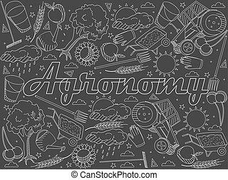 Agronomy chalk vector illustration - Vector line art Doodle...