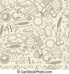Agronomy seamless retro vector illustration - Vector line...