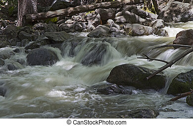 Creek below Bridalveil Fall in Yosemite Valley, California -...