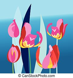 Bright background with multi-colored tulip - Bright...