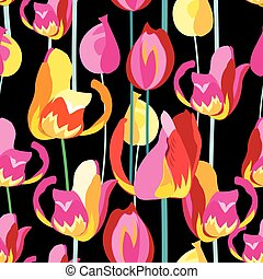 Seamless pattern with beautiful multi-colored tulips on a...