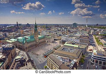 Hamburg. - Aerial image of Hamburg, Germany during spring...