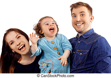Happy and smiling young family Portrait isolated on White...