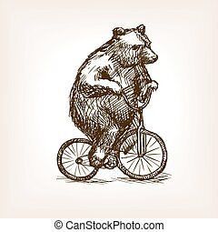Circus bear on bicycle hand drawn sketch vector