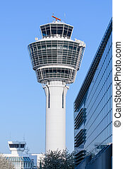 Air traffic control tower in Munich international passenger...