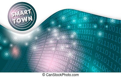 Futuristic abstract background with smart town icon and binary code