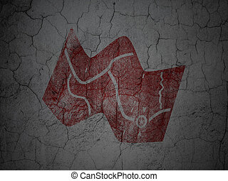 Tourism concept: Map on grunge wall background