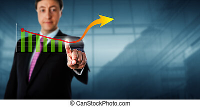 Business Man Touching Virtual Growth Arrow - Business man is...