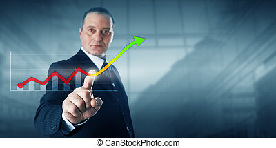 Entrepreneur Touching Virtual Growth Trend Line - Positive...
