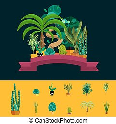 Desert flowers. Exotic plant, bush, palm tree, cactus vector set
