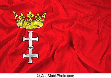 Waving Flag of Gdansk, Poland