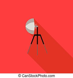 Studio flash icon in flat style on a red background