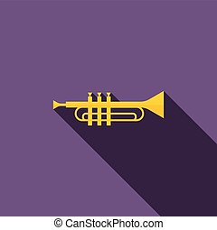 Brass trumpet icon, flat style - Brass trumpet icon in flat...