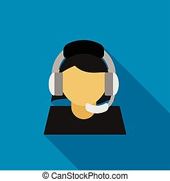 Call center operator icon, flat style - Call center operator...