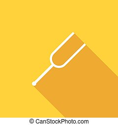 Tuning fork icon, flat style - Tuning fork icon in flat...