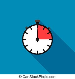 Stopwatch icon in flat style on a blue background