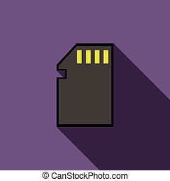 SD memory card icon, flat style - SD memory card icon in...