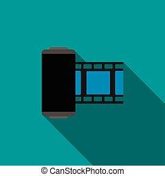 Camera film roll icon, flat style