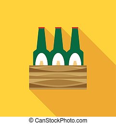 Set of beer bottles icon, flat style