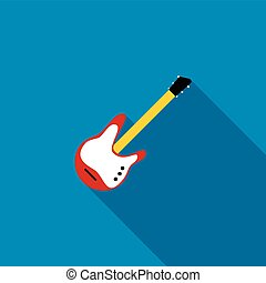 Red electric guitar icon, flat style - Red electric guitar...