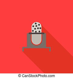 Retro microphone icon in flat style on a red background