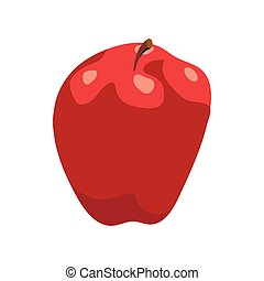 Red apple icon in cartoon style