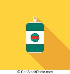 Beer can icon, flat style - Beer can icon in flat style with...
