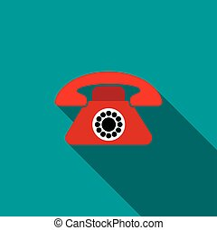 Red retro telephone icon, flat style