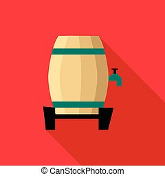 Beer barrel icon, flat style