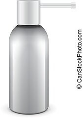 Gray Medical Drags Aerosol Spray Metal 3D Bottle Can: Paint, Graffiti, Deodorant. Mock Up Template Ready For Your Design. Vector EPS10