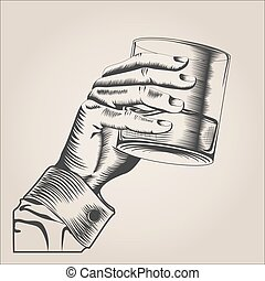 Male hand holding glass alcohol drink hand-drawn design...