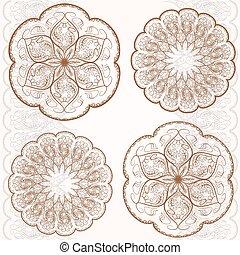 Set decorative circular ornaments, classic pattern - Set...