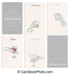 Set pages alcohol menu hand holding glass - Set pages for...