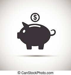 Moneybox piggy icon, save money, vector illustration