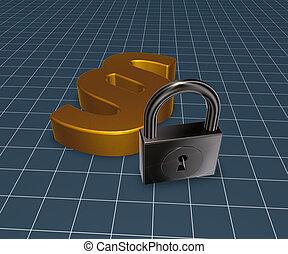paragraph symbol and padlock - 3d rendering