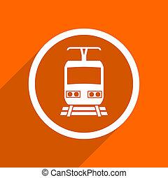 train icon Orange flat button Web and mobile app design...